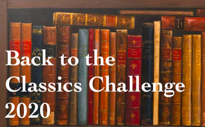 Shelf of Books behind the words Back to the Classics Challenge 2020