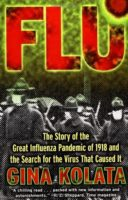 "Book cover showing people wearing face masks under the word ""FLU"""